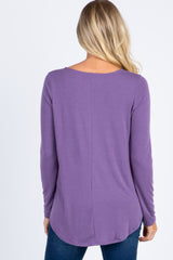 Lavender Long Sleeve Front Button Maternity Top