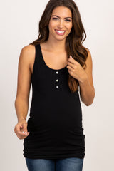 PinkBlush Black Button Accent Tank Top