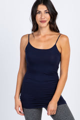 Navy Blue Solid Basic Maternity Cami Tunic