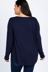 Navy Blue Long Sleeve Front Button Maternity Plus Top
