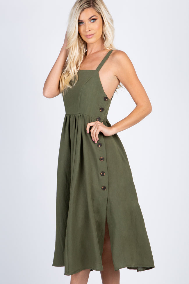 Olive Side Button Sleeveless Midi Dress