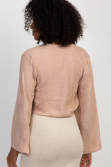 Peach Long Sleeve Knot Front Top