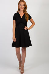 Black Ribbed Knot Front Dress
