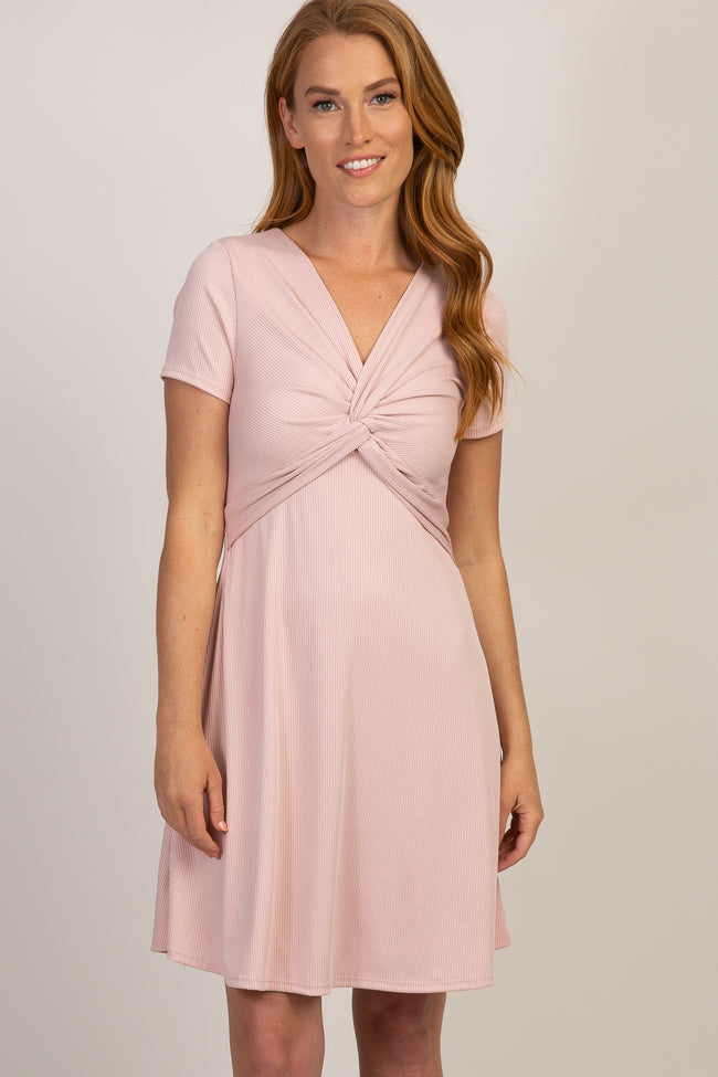 Light Pink Ribbed Knot Front Dress