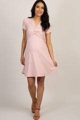 Light Pink Ribbed Knot Front Maternity Dress