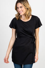 Black Gathered Waistline Maternity Blouse