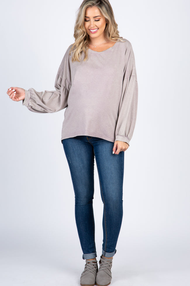 Lavender Faded Puff Sleeve Hi Low Maternity Top