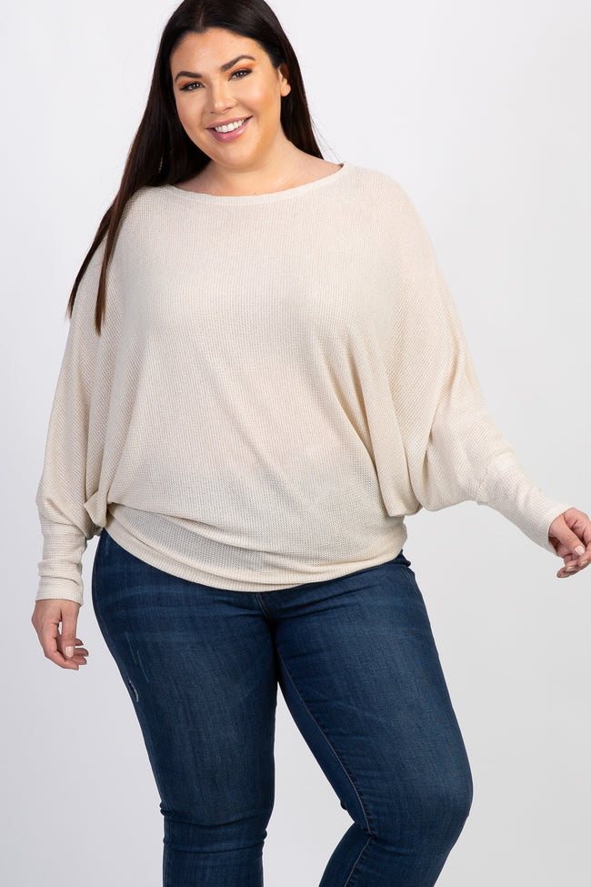 Beige Wide Neck Knit Dolman Sleeve Plus Top