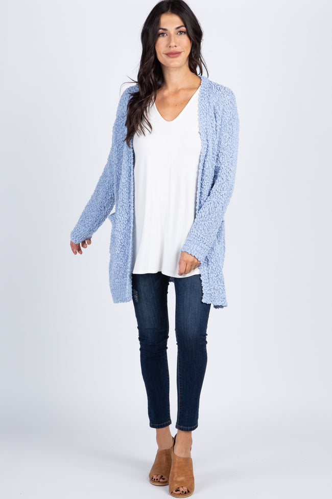 Light Blue Popcorn Knit Pocket Front Cardigan