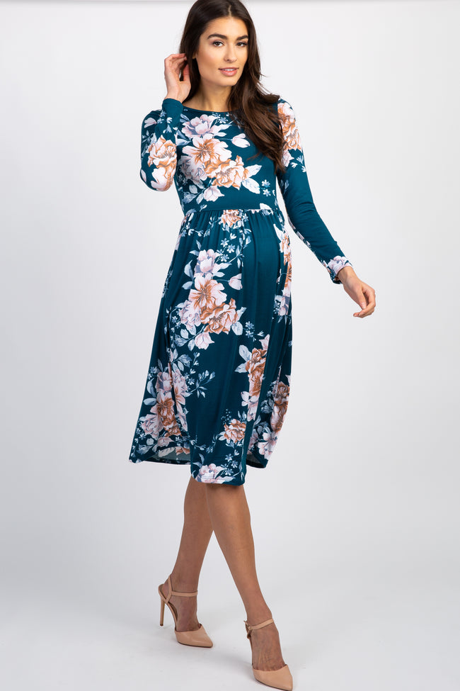 Dark Teal Floral Pleated Long Sleeve Maternity Midi Dress