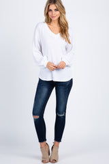 Ivory Double V-Neck Soft Waffle Knit Long Sleeve Top