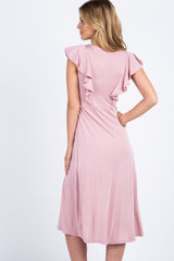 Light Pink Ruffle Sleeve Midi Dress