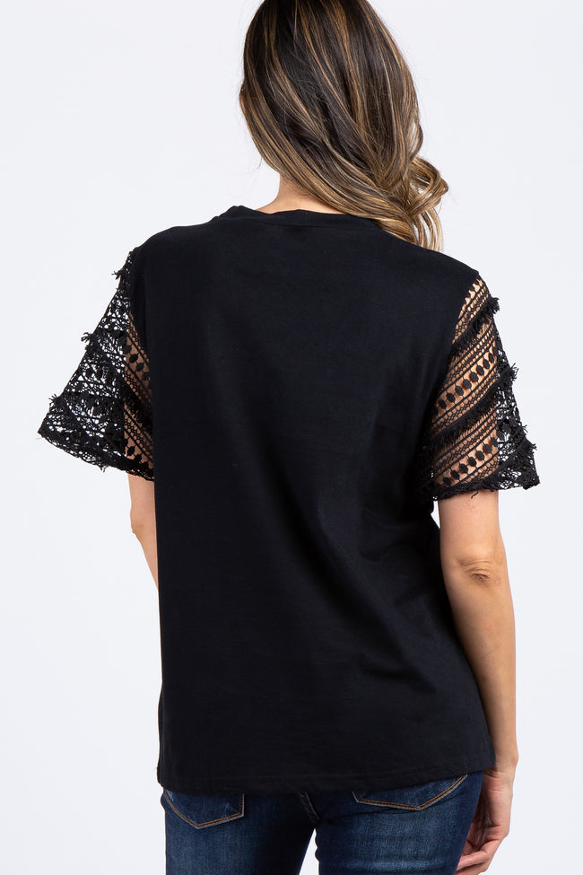 Black Solid Lace Crochet Bell Sleeve Top
