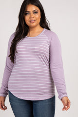 Lavender Striped Colorblock Elbow Patch Plus Maternity Top