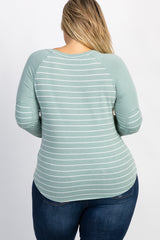 Mint Green Striped Colorblock Elbow Patch Plus Top