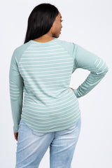 Mint Green Striped Colorblock Elbow Patch Maternity Plus Top