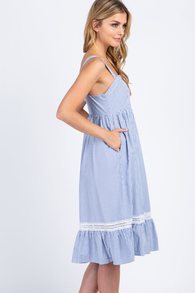 Blue Pinstriped Sleeveless Crochet Trim Dress