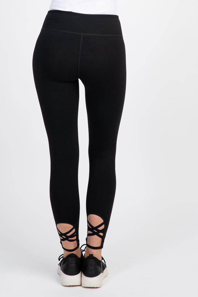 Black Active Double Cross Back Cropped Leggings