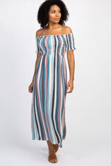 Pink Striped Smocked Off Shoulder Maxi Dress
