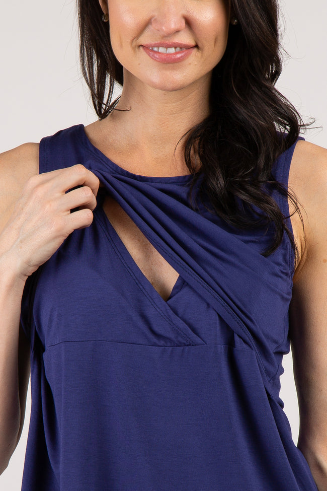 Navy Solid Sleeveless Maternity Nursing Top