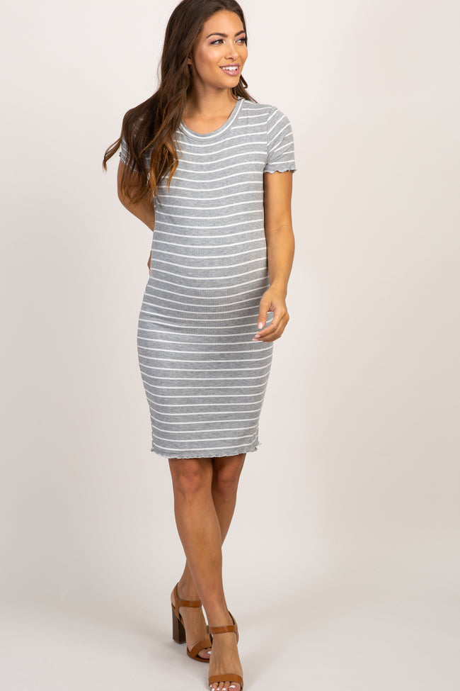Heather Grey Striped Ribbed Lettuce Edge Maternity Dress