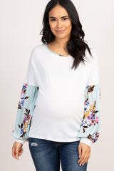 Ivory Mint Floral Puff Sleeve Maternity Top