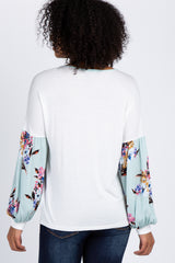Ivory Mint Floral Puff Sleeve Top