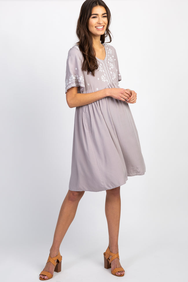 Grey Embroidered Short Sleeve Peplum Maternity Dress
