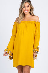 Mustard Off Shoulder Ruffled Floral Bell Sleeve Maternity Dress