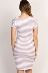 PinkBlush Purple Striped Fitted Short Sleeve Maternity Dress