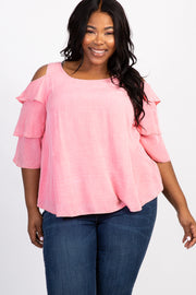 Pink Solid Cold Shoulder Ruffle Plus Top