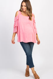 Pink Solid Cold Shoulder Ruffle Plus Maternity Top