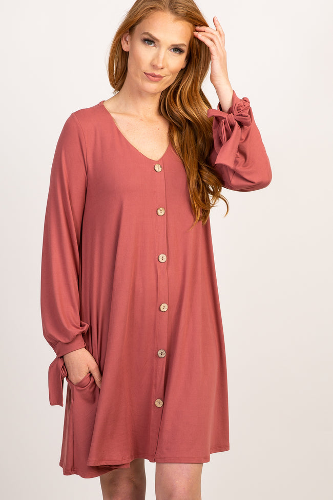Mauve Solid Button Front Tie Sleeve Dress