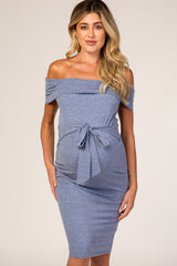 PinkBlush Navy Blue Folded Off Shoulder Belted Fitted Maternity Dress