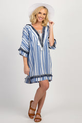 Blue Striped Fringe Trim Swimsuit Cover Up