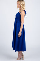 Blue Shoulder Tie Smocked Midi Dress
