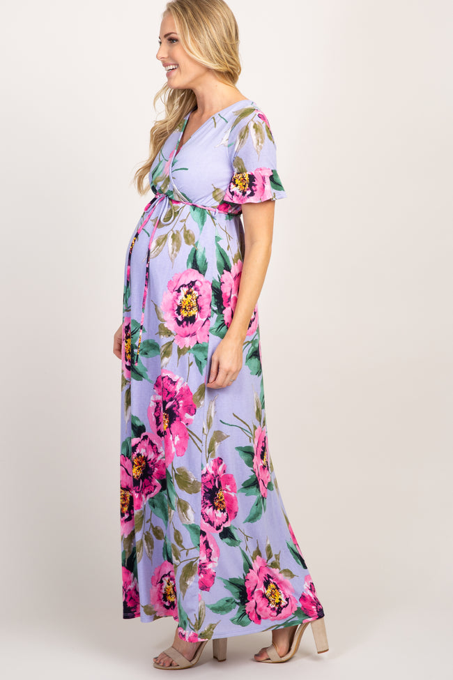 Lavender Abstract Floral Print Ruffle Sleeve Maternity Maxi Dress