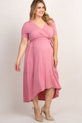Pink Solid Hi-Low Maternity Plus Wrap Dress