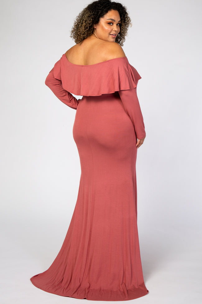 Dark Mauve Off Shoulder Ruffle Maternity Plus Photoshoot Gown/Dress
