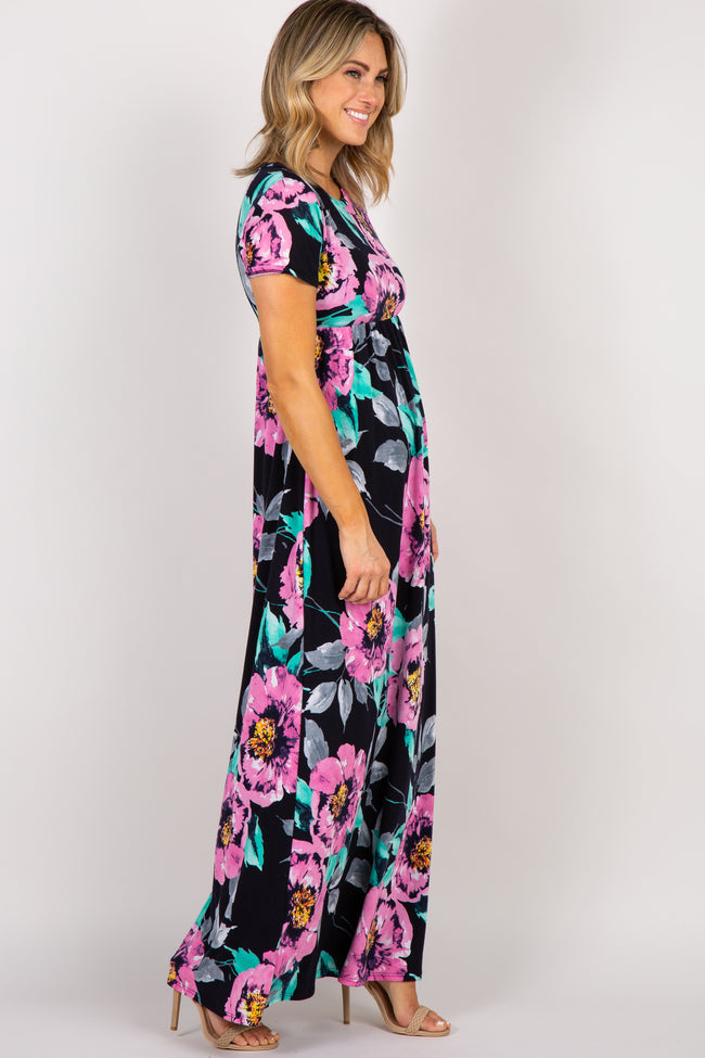 PinkBlush Navy Blue Floral Short Sleeve Maxi Dress