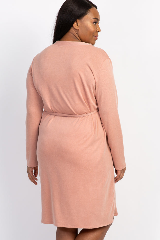 Pink Solid Delivery/Nursing Maternity Plus Robe