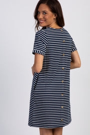 Navy Striped Button Back Accent Dress