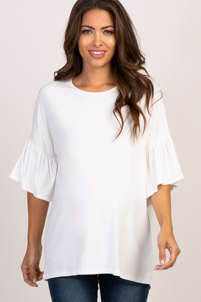 Ivory Solid Ruffle Sleeve Maternity Top
