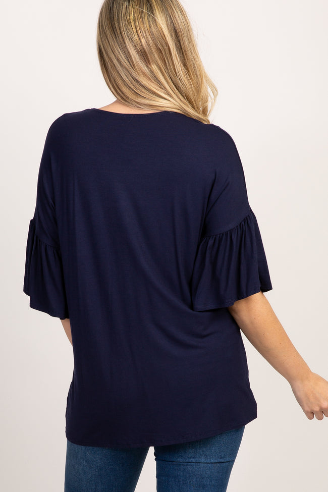 Navy Solid Ruffle Sleeve Maternity Top