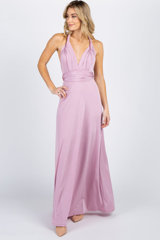 Pink Solid Pleated Convertible Maxi Dress