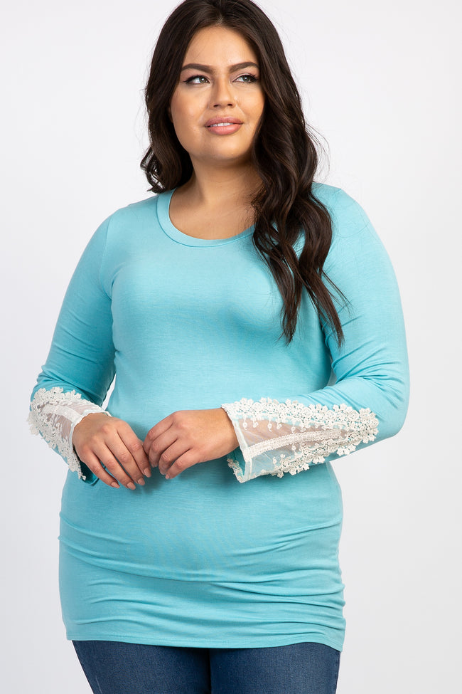 Light Blue Long Crochet Mesh Sleeve Plus Maternity Top
