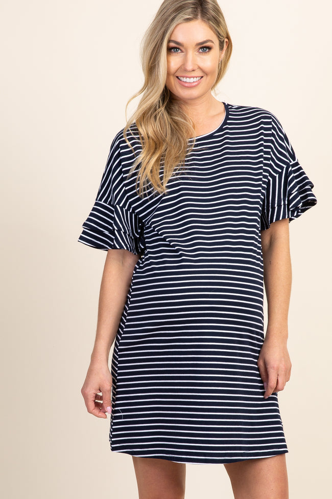 Navy Blue Striped Ruffle Sleeve Maternity Dress