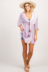 Lavender Multi Striped Maternity Swimsuit Cover Up Dress