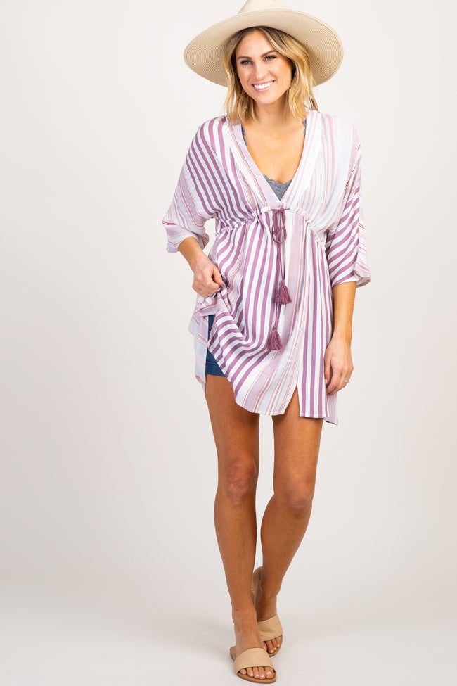 Lavender Multi Striped Swimsuit Cover Up