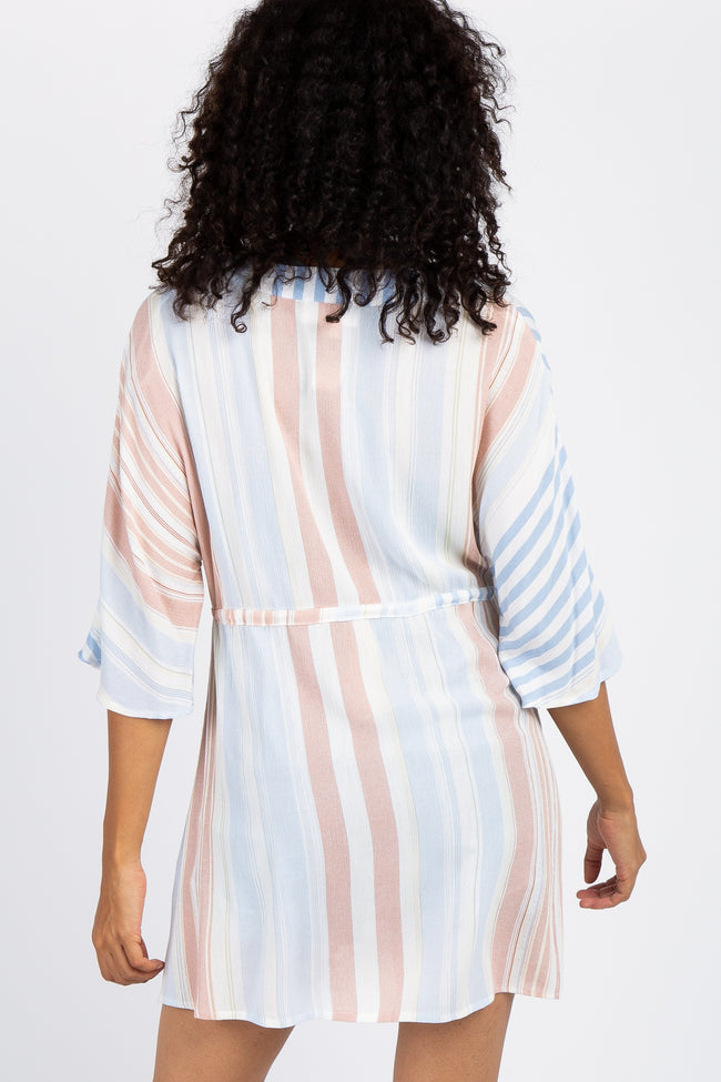 Light Blue Multi Striped Maternity Swimsuit Cover Up Dress